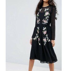 NWT ASOS | Embroidered Midi Dress